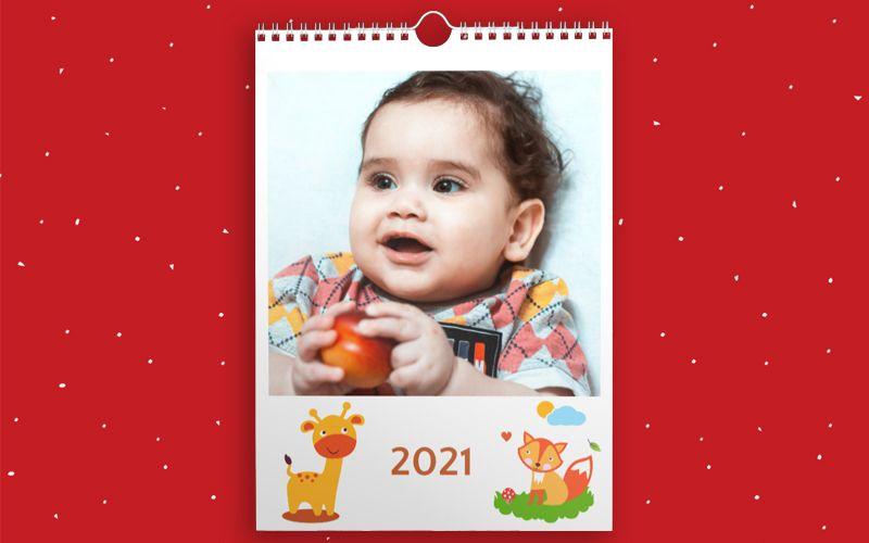 Calendario A3 Baby Animals White