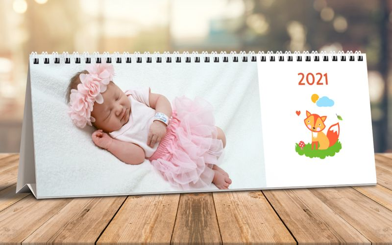 Calendario Da Tavolo Orizzontale Baby Animals White