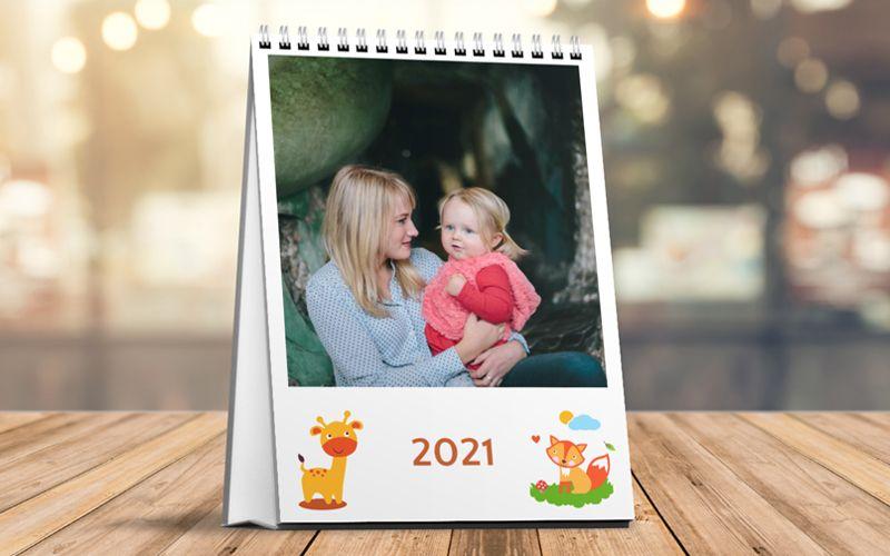 Calendario Da Tavolo Verticale Baby Animals White